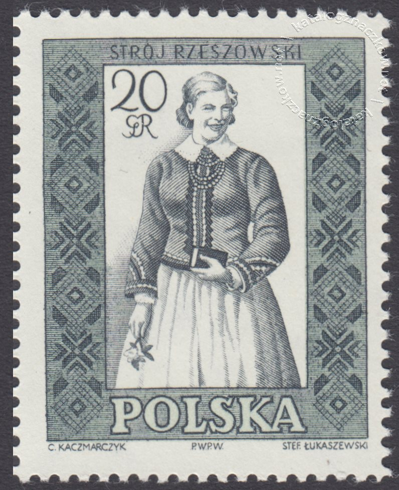 Polskie stroje ludowe znaczek nr 995B
