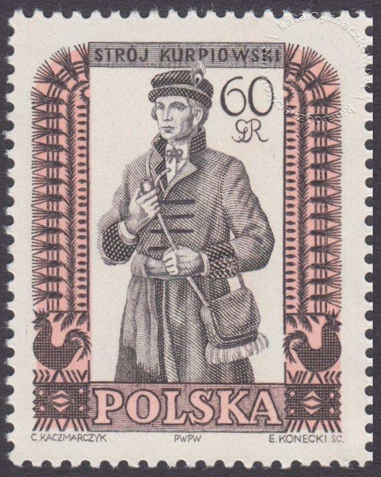 Polskie stroje ludowe znaczek nr 996B