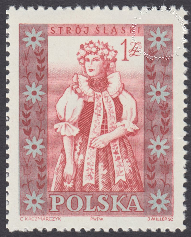 Polskie stroje ludowe znaczek nr 999B