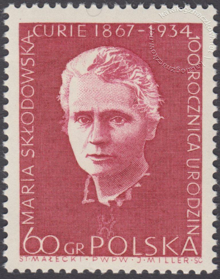 100 rocznica urodzin Marii Skłodowskiej Curie znaczek nr 1630