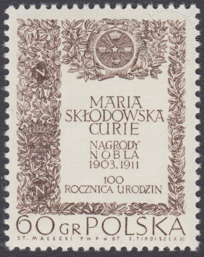 100 rocznica urodzin Marii Skłodowskiej Curie znaczek nr 1631