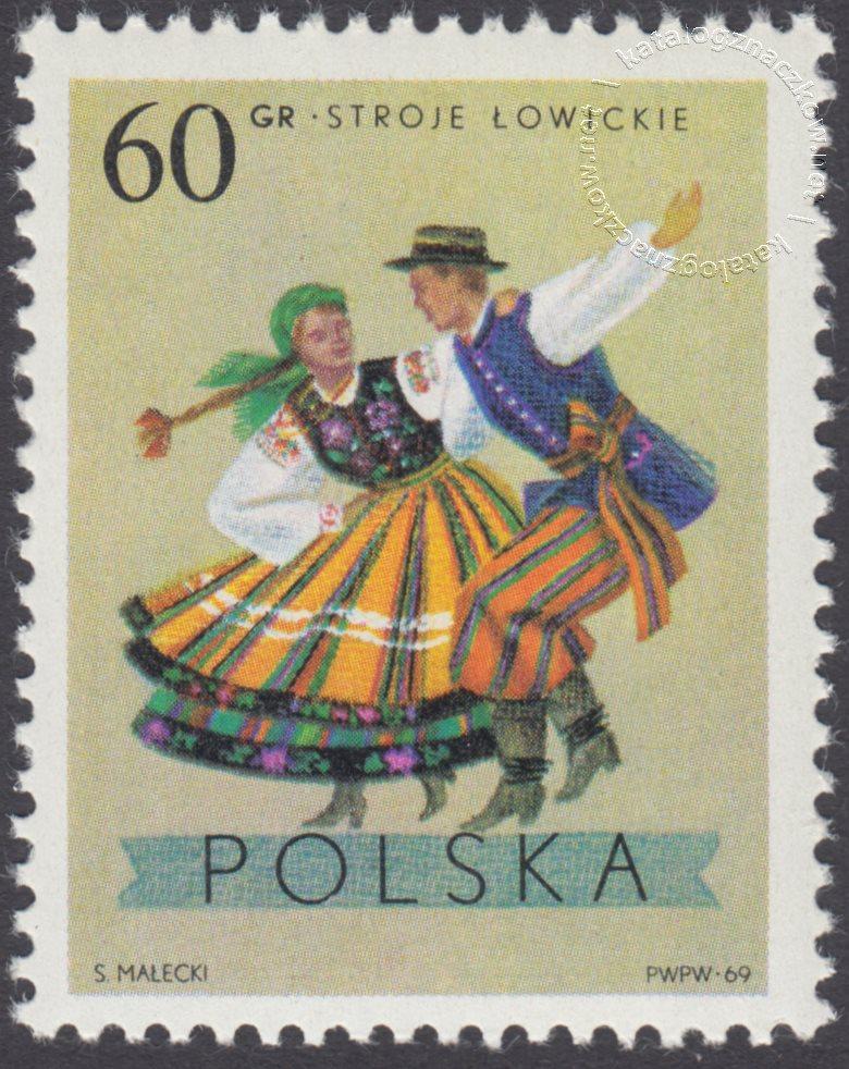 Polskie stroje Ludowe znaczek nr 1805