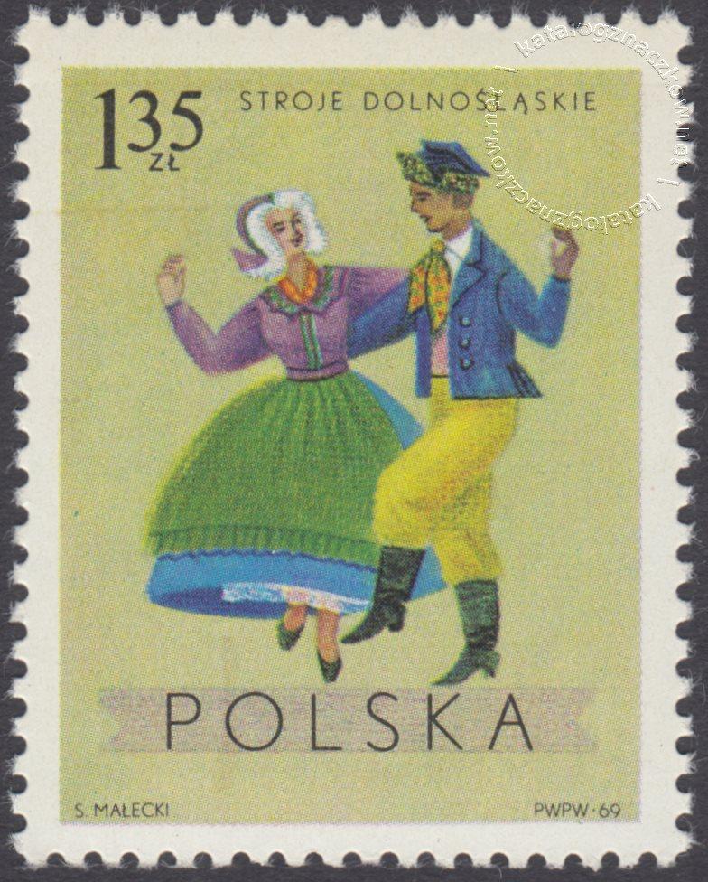 Polskie stroje Ludowe znaczek nr 1807