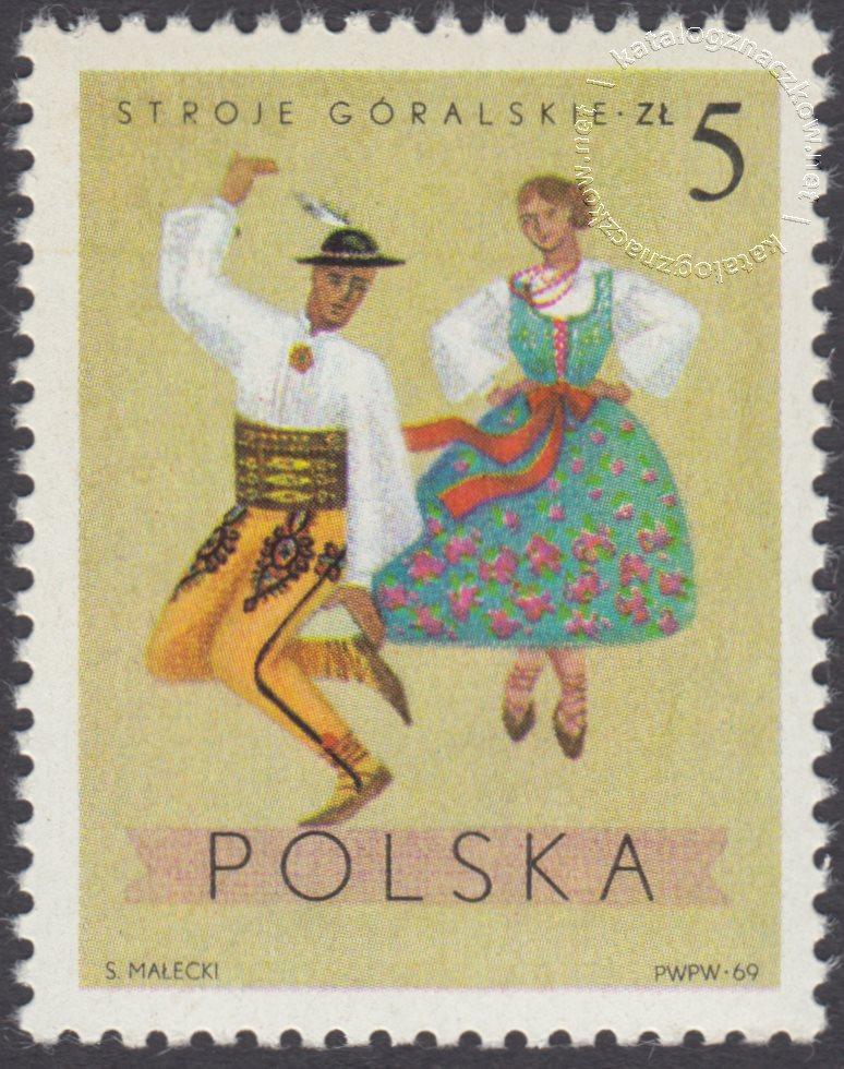 Polskie stroje Ludowe znaczek nr 1810