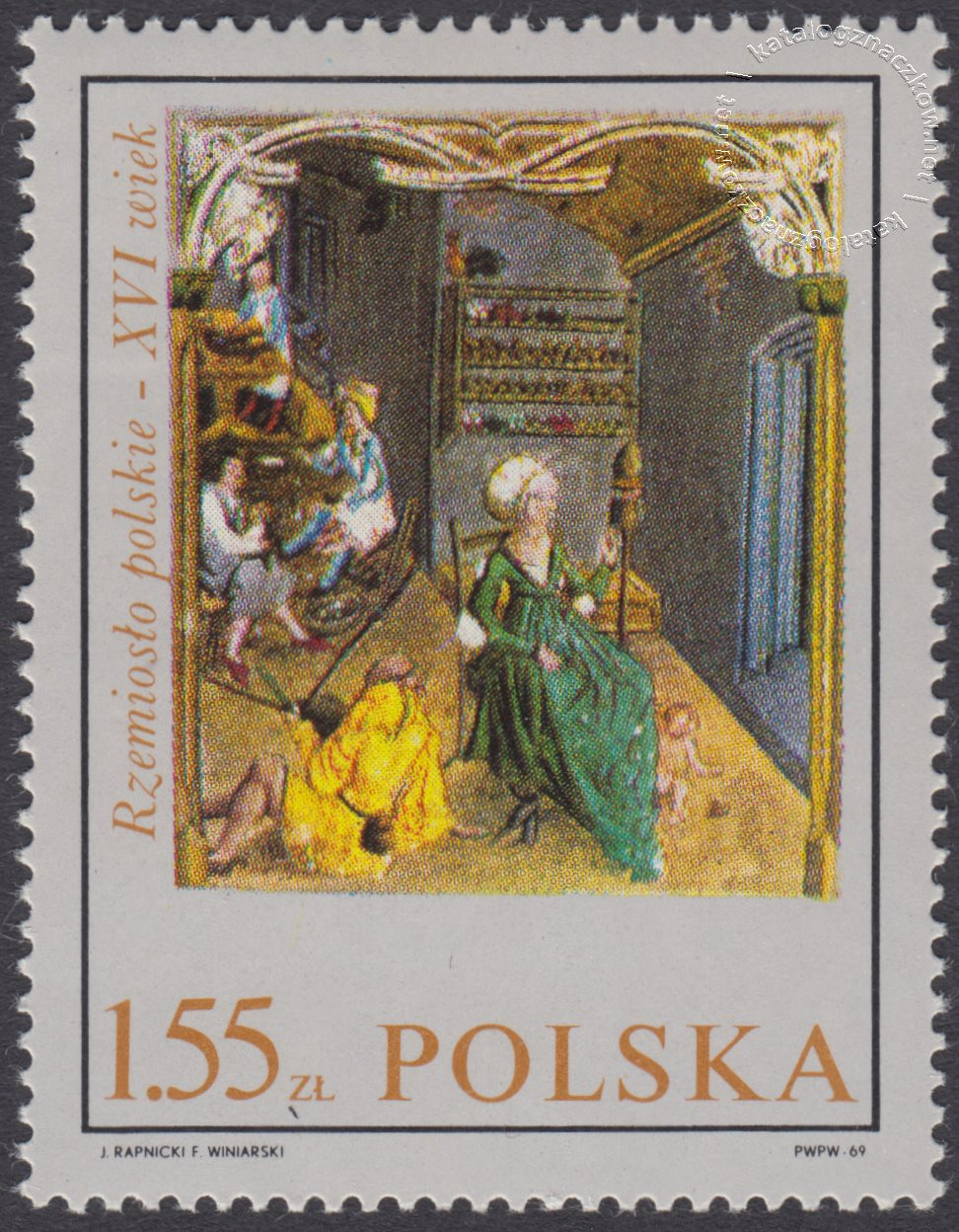 Rzemiosło polskie w XVI wiecznym malarstwie z kodeksu Baltazara Behema znaczek nr 1819