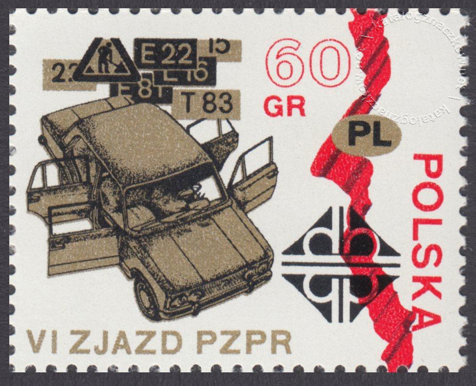 VI Zjazd PZPR znaczek nr 1982
