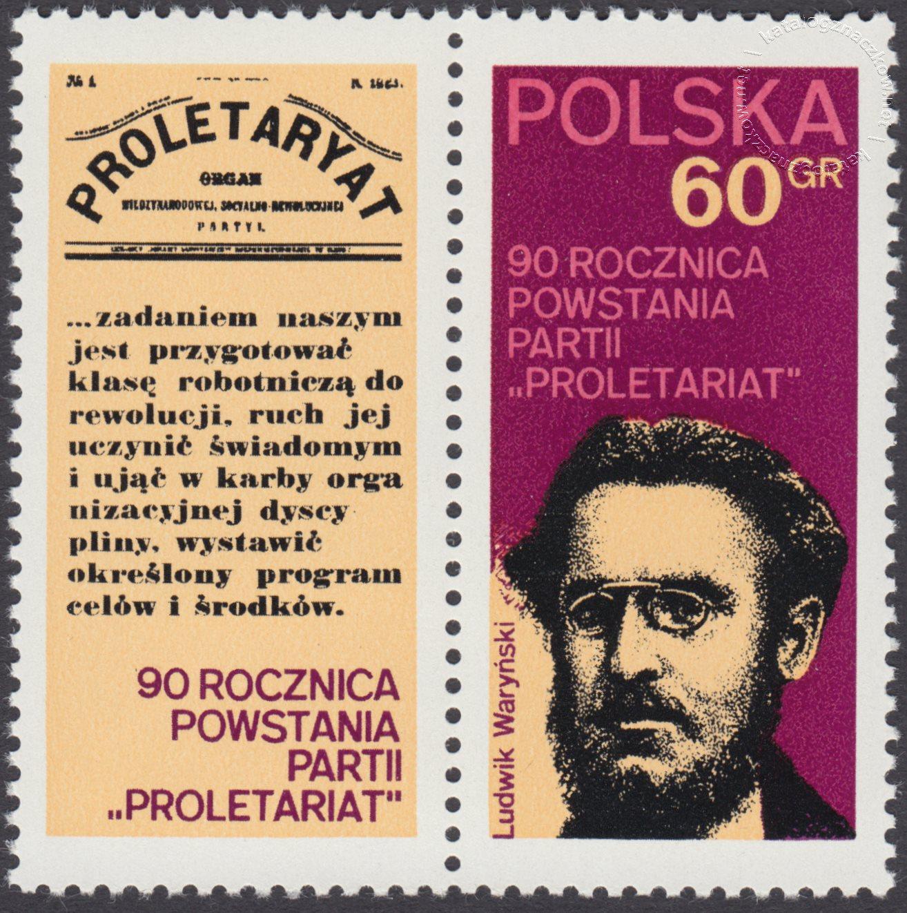 90 rocznica powstania partii Proletariat znaczek nr 2024 + przywieszka