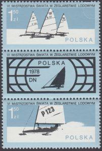 VI Mistrzostwa świata w żeglarstwie lodowym znaczki nr 2394-2395 + przywieszka