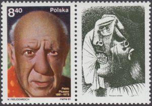 100 rocznica urodzin Pabla Picassa znaczek nr 2580 + przywieszka
