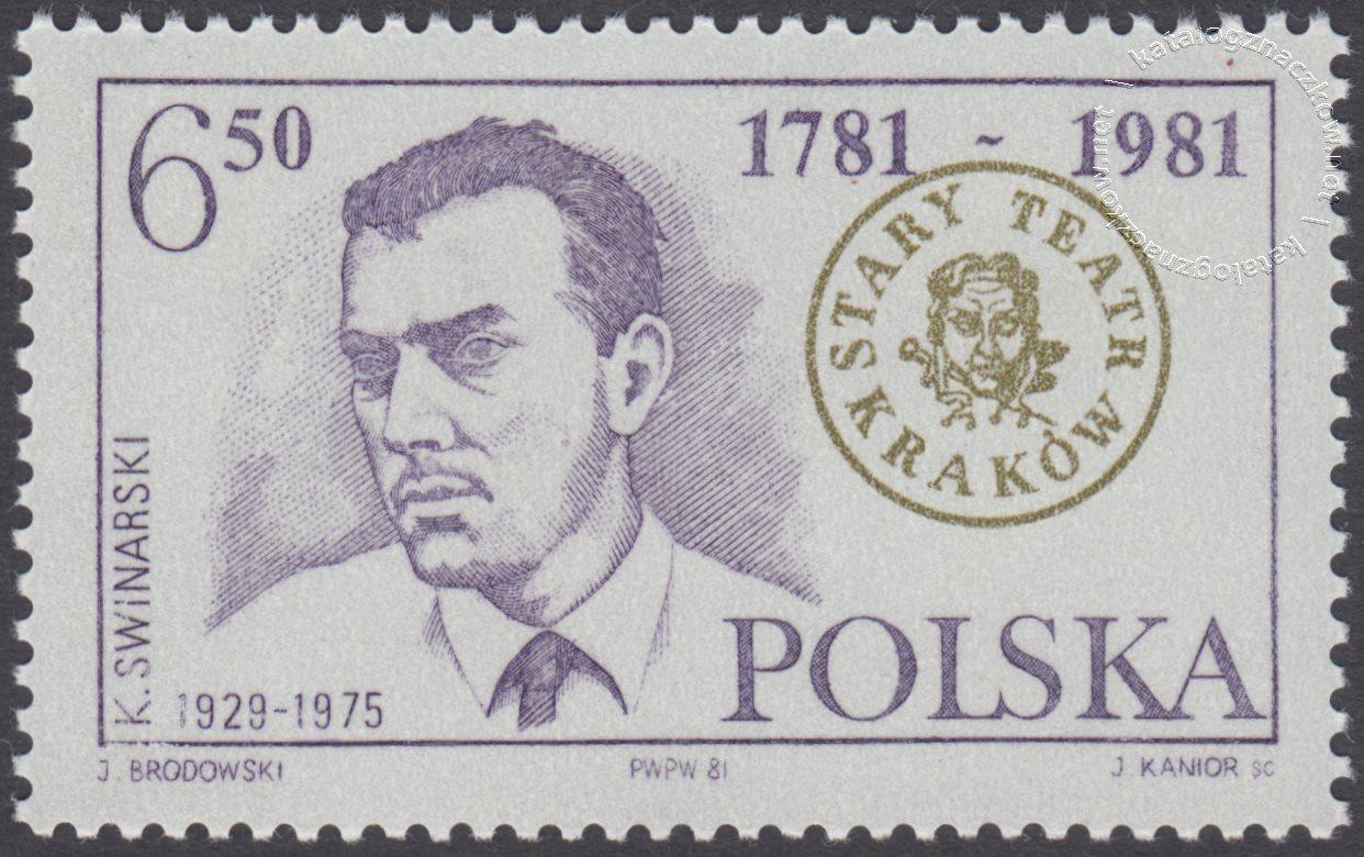200 lat Starego Teatru w Krakowie znaczek nr 2631