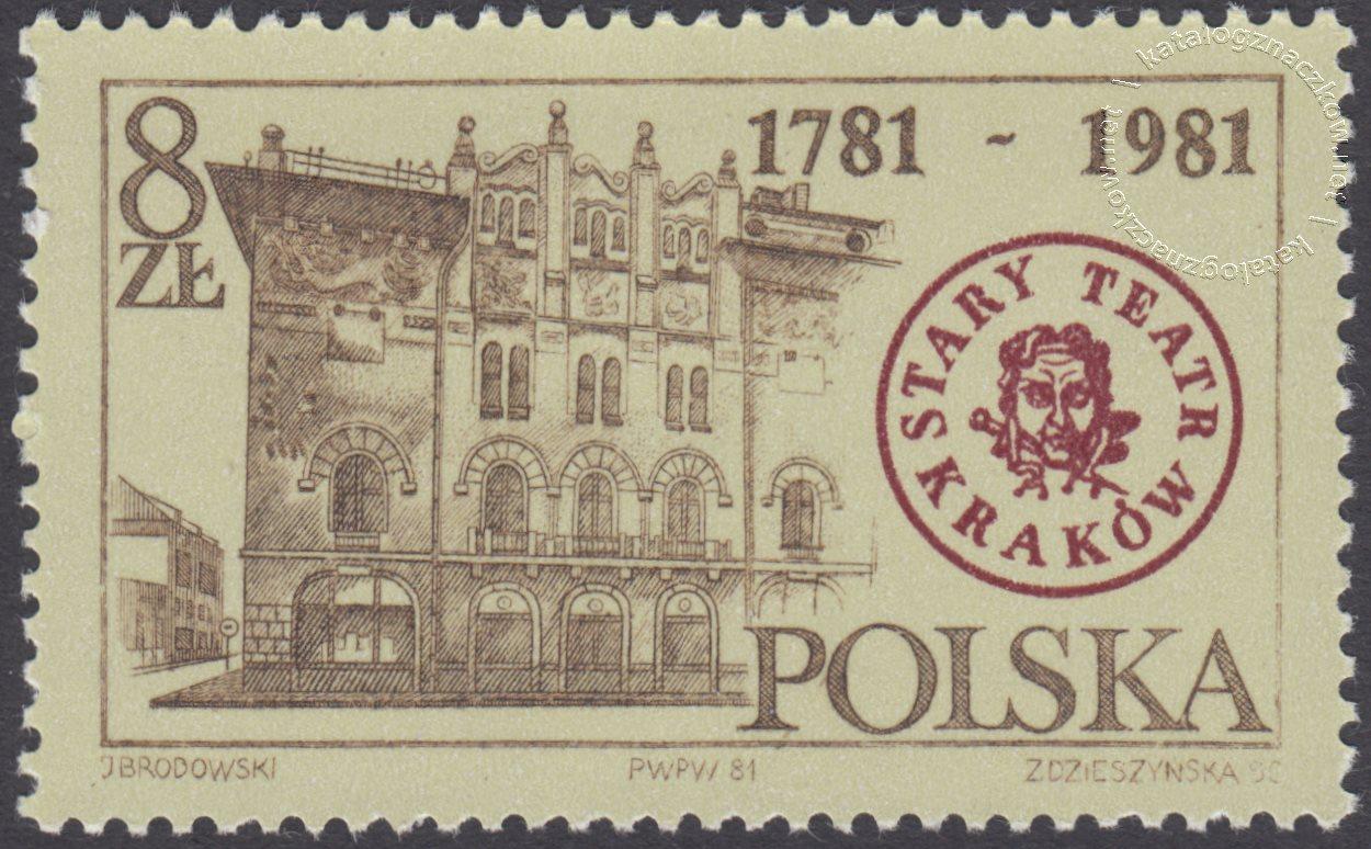 200 lat Starego Teatru w Krakowie znaczek nr 2632