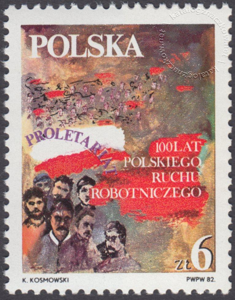 100 lecie polskiego ruchu robotniczego znaczek nr 2673