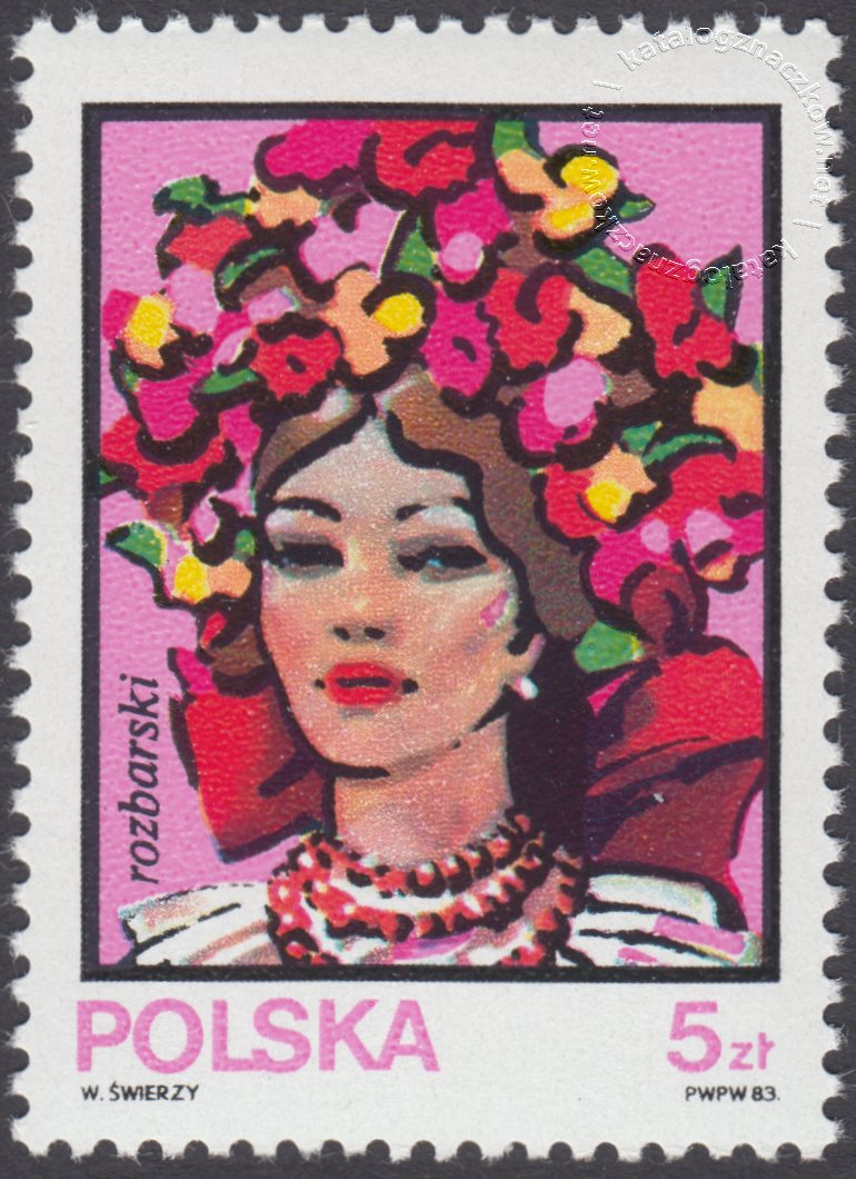 Kobiece stroje ludowe znaczek nr 2744