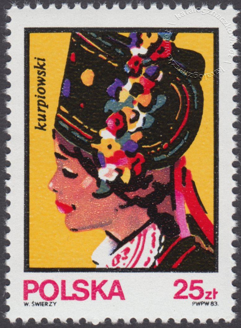 Kobiece stroje ludowe znaczek nr 2747