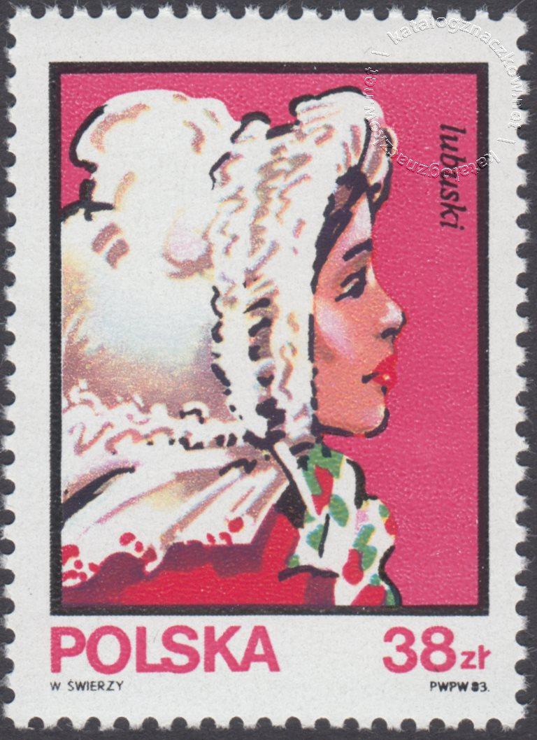 Kobiece stroje ludowe znaczek nr 2748