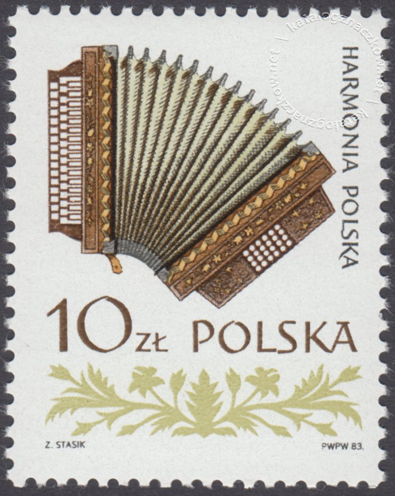Polskie ludowe instrumenty muzyczne znaczek nr 2753
