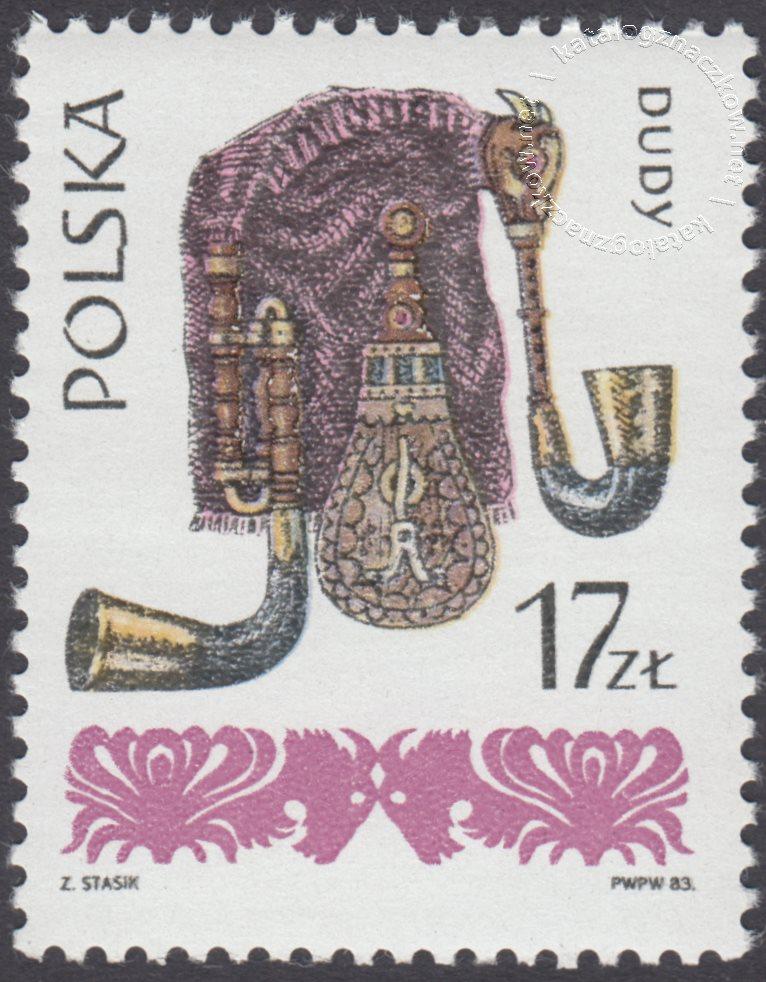 Polskie ludowe instrumenty muzyczne znaczek nr 2755