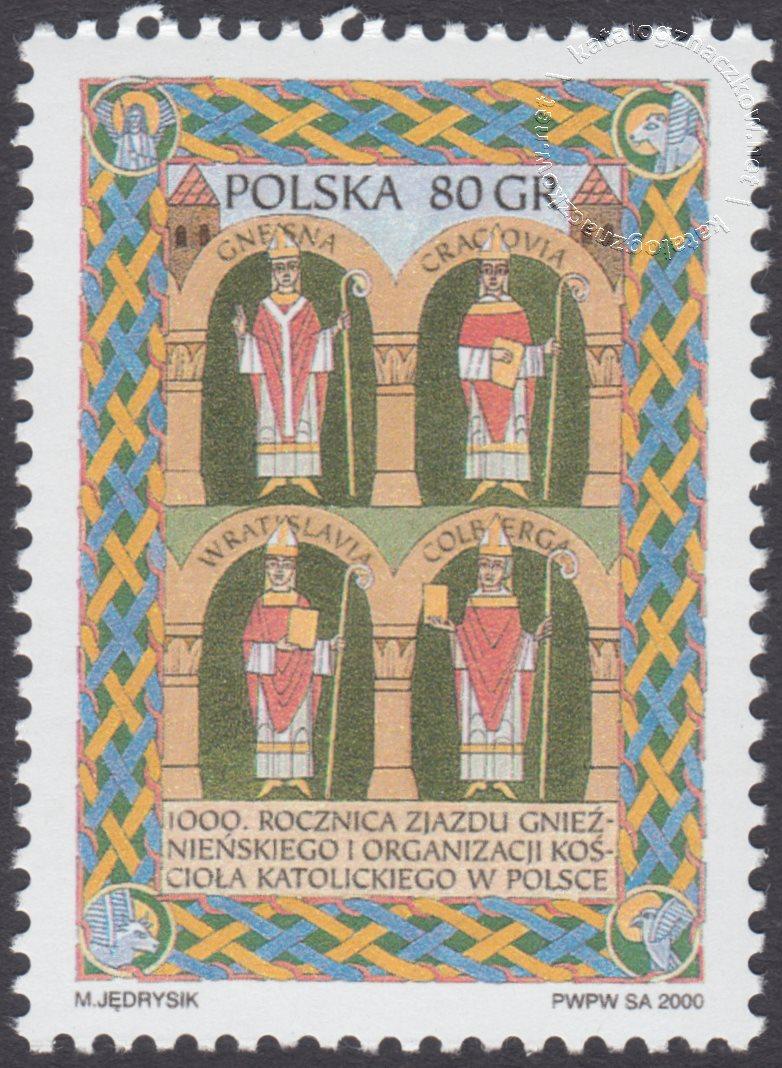 1000 rocznica zjazdu gnieźnieńskiego i organizacji kościoła katolickiego w Polsce znaczek nr 3661