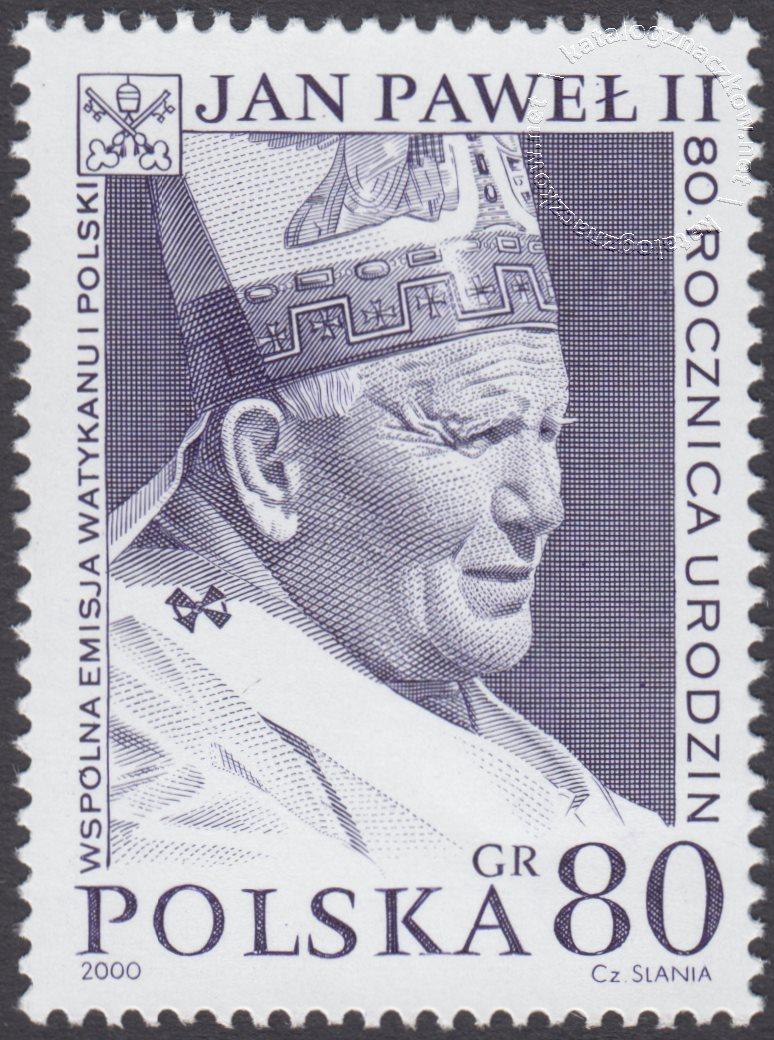 80 rocznica urodzin Papieża Jana Pawła II znaczek nr 3682