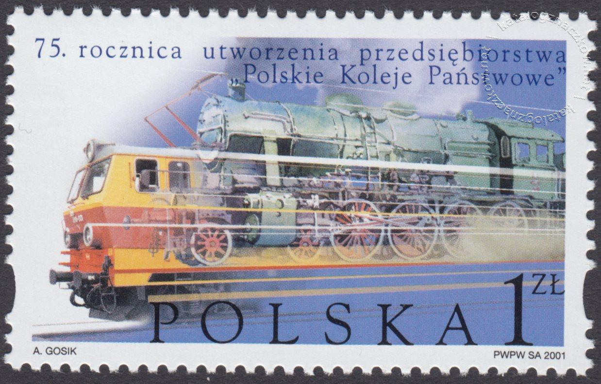 75 rocznica utworzenia przedsiębiorstwa Polskie Koleje Państwowe znaczek nr 3770