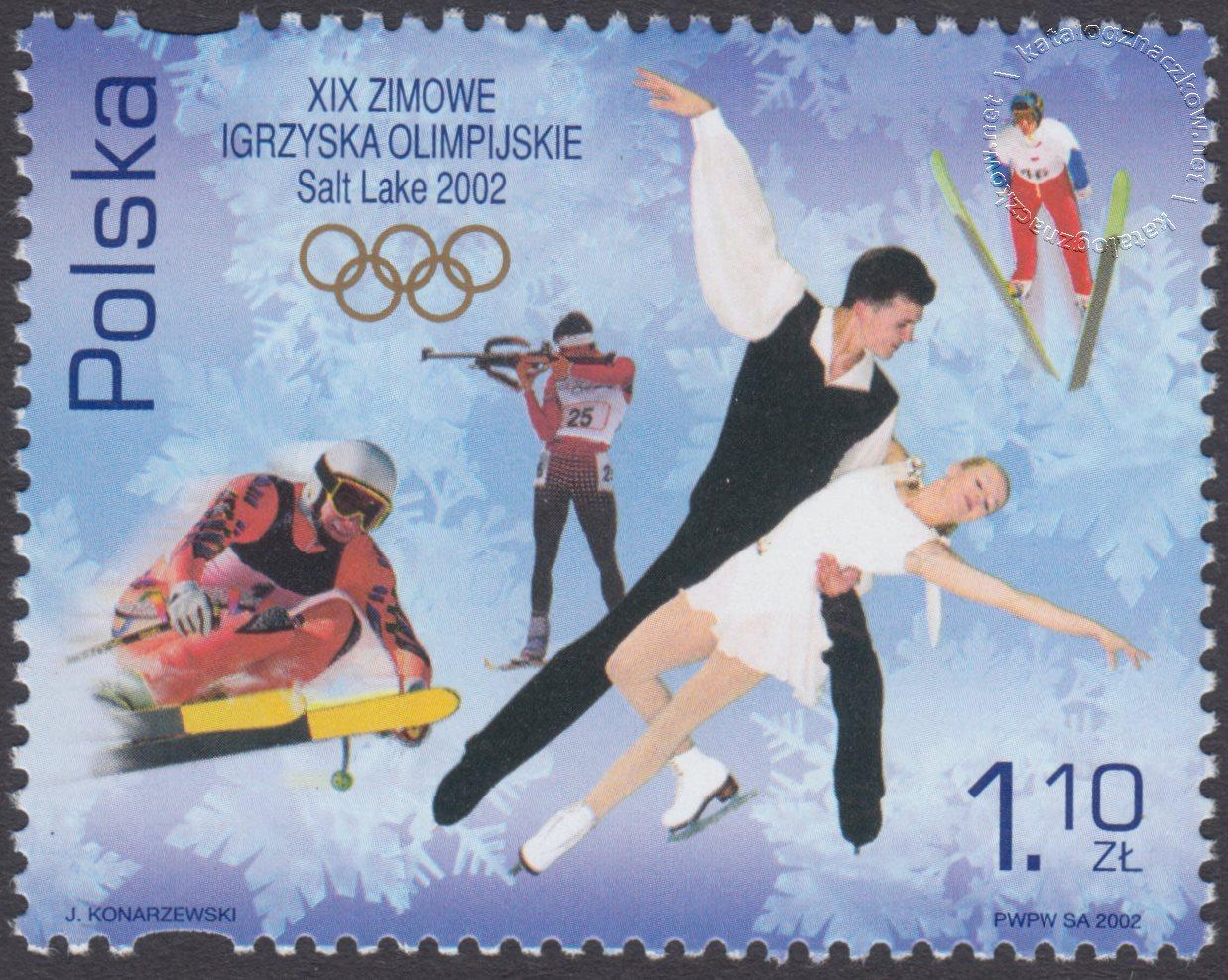 XIX Zimowe Igrzyska Olimpijskie – Salt Lake City 2002 znaczek nr 3802