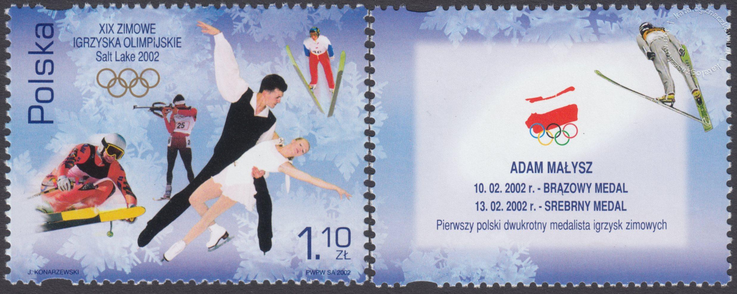 XIX Zimowe Igrzyska Olimpijskie – Salt Lake City 2002 znaczek nr 3802 + przywieszka