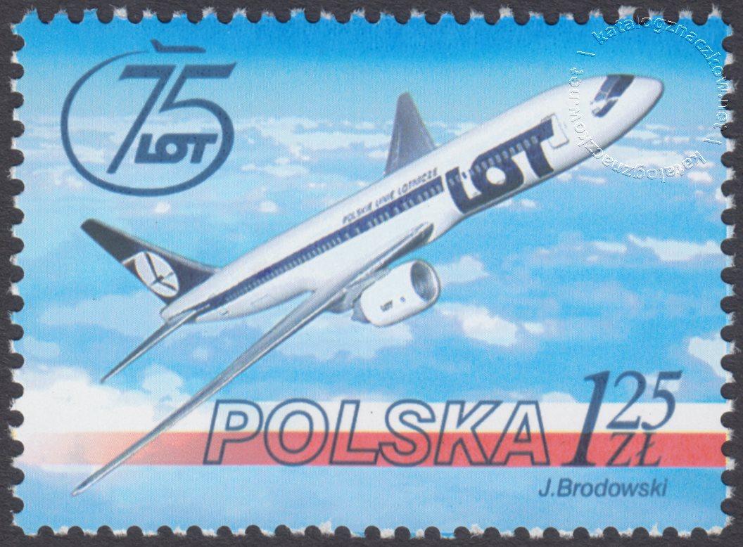 75 lecie Polskich Linii Lotniczych LOT znaczek nr 3944