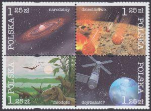 Kosmiczna historia Ziemi znaczki nr 4012-4015