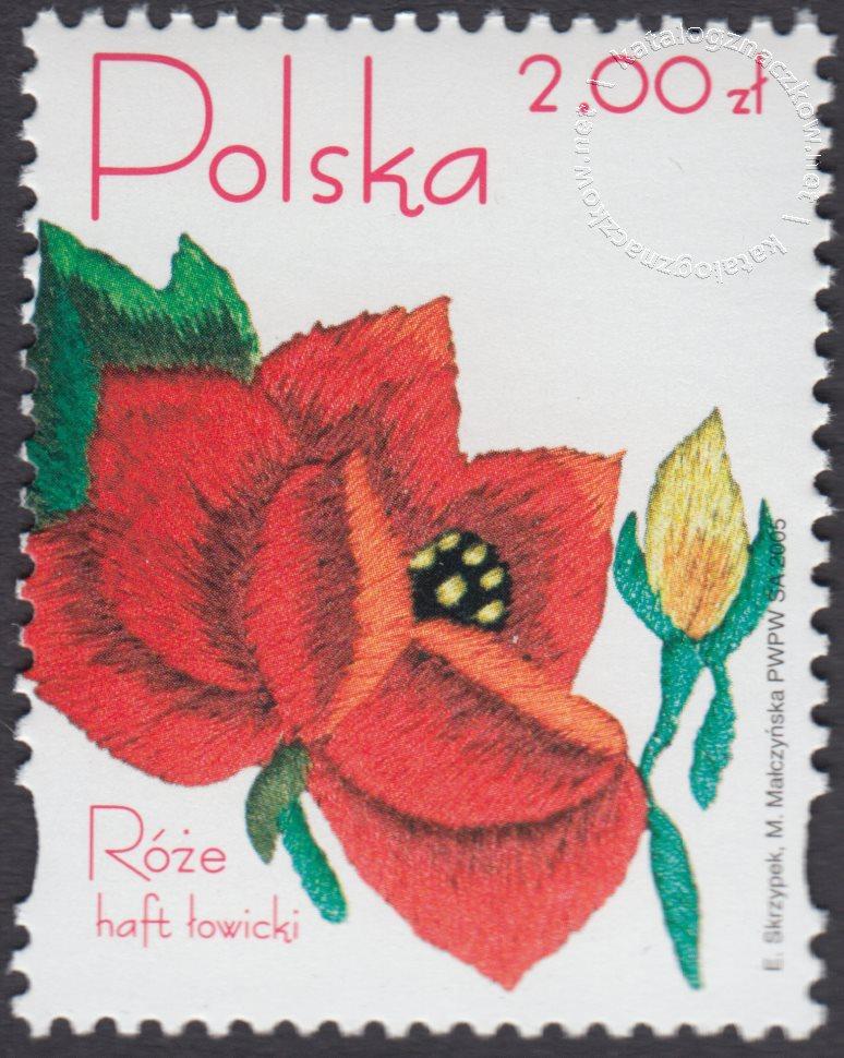 Róże w hafcie polskim znaczek nr 4046