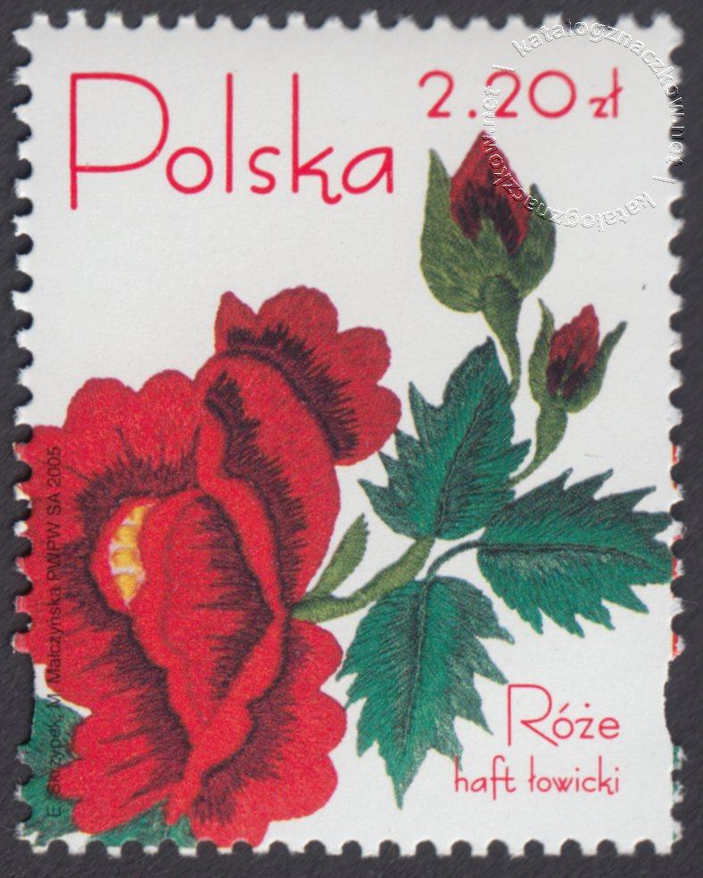 Róże w hafcie polskim znaczek nr 4047