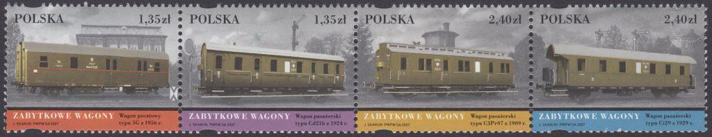Zabytkowe Wagony- znaczek nr 4158-4161