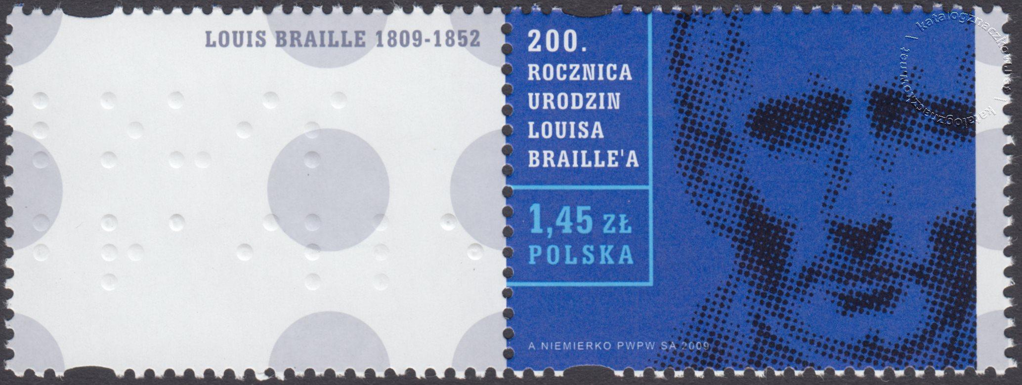 200 rocznica urodzin Louisa Braille'a znaczek nr 4257 + przywieszka