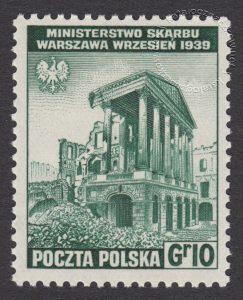 Zniszczenia dokonane przez Niemców w Polsce. Wojsko polskie w Wielkiej Brytanii - znaczek nr B338