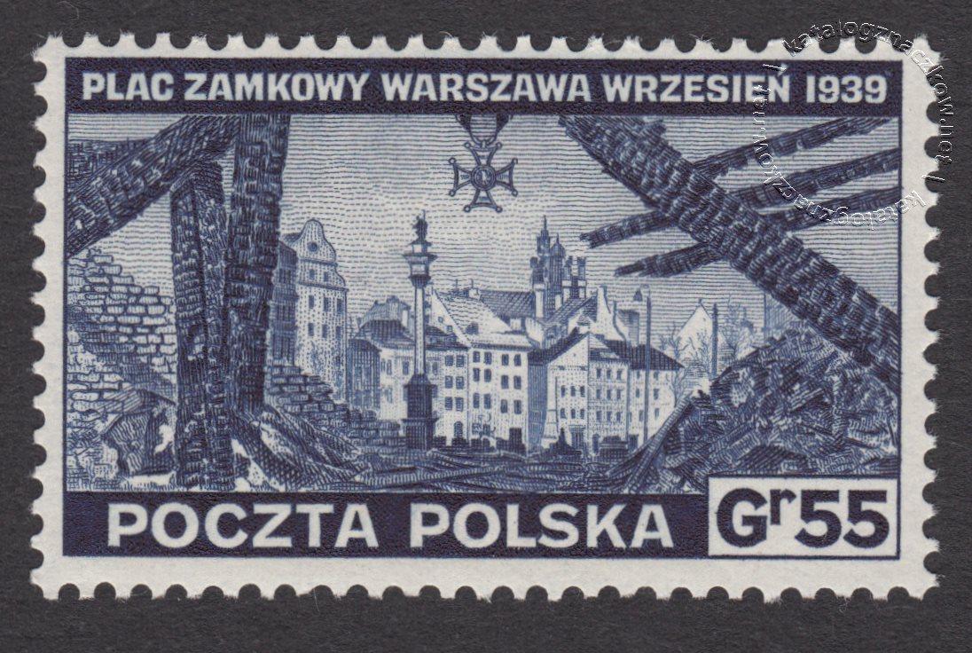 Zniszczenia dokonane przez Niemców w Polsce. Wojsko polskie w Wielkiej Brytanii znaczek nr D338