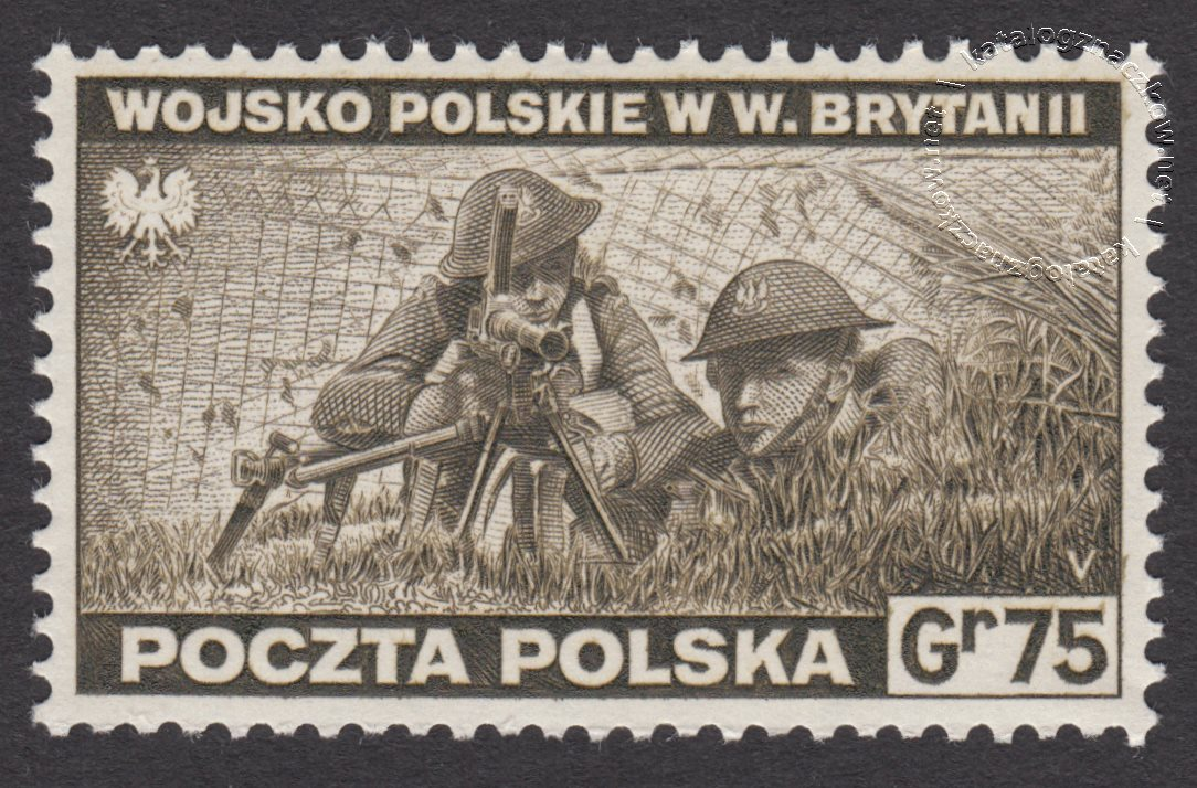 Zniszczenia dokonane przez Niemców w Polsce. Wojsko polskie w Wielkiej Brytanii znaczek nr E338