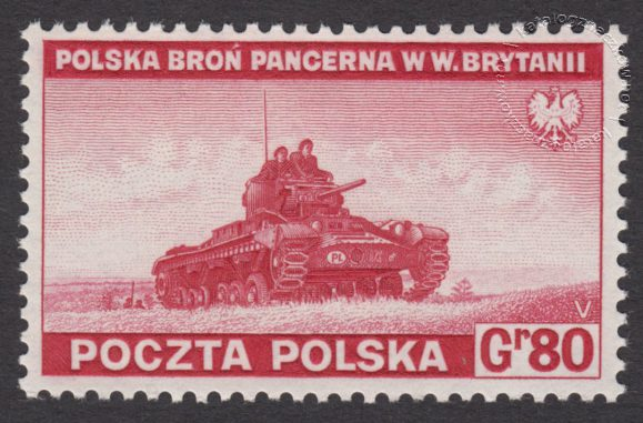 Zniszczenia dokonane przez Niemców w Polsce. Wojsko polskie w Wielkiej Brytanii - znaczek nr F338