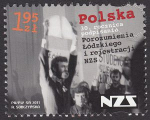 30 rocznica podpisania Porozumienia Łódzkiego i rejestracji Niezależnego Zrzeszenia Studentów - znaczek nr 4358