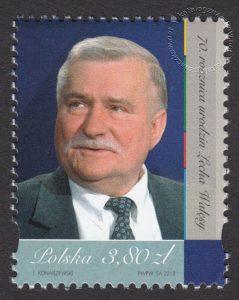 70 rocznica urodzin Lecha Wałęsy - znaczek nr 4486