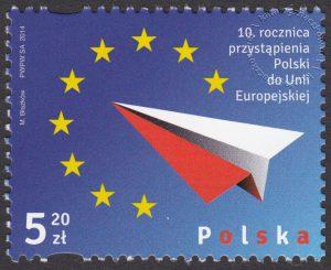 10 rocznica przystąpienia Polski do Unii Europejskiej - znaczek nr 4525