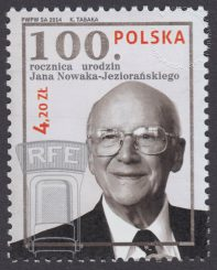 100 rocznica urodzin Jana Nowaka-Jeziorańskiego - znaczek nr 4565