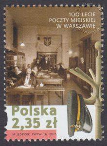 100-lecie Poczty Miejskiej w Warszawie - znaczek nr 4640