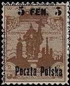 Nie dopuszczone do obiegu znaczki poczty miejskiej Warszawy z nadrukiem nowego nominału i napisu Poczta Polska znaczek nr 2